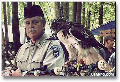 Bagpiper with hawk