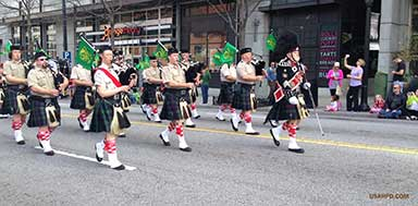 Atholl Highlanders USA march in St. Patrick's Day Parade, downtown Atlanta